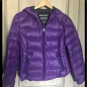 Purple packable down jacket